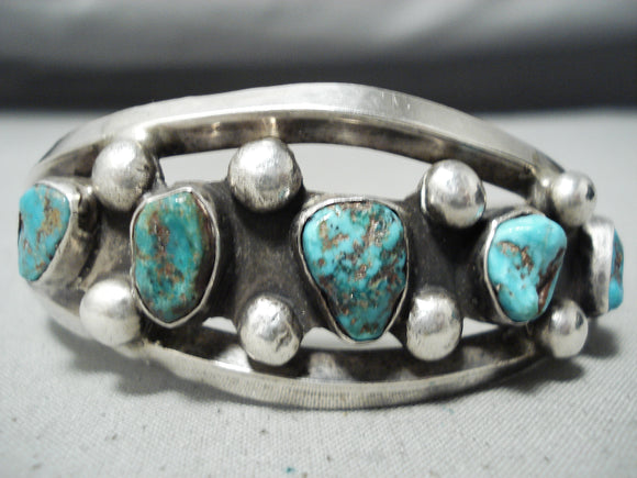 Incredible Vintage Native American Navajo Turquoise Sterling Silver Bracelet Old