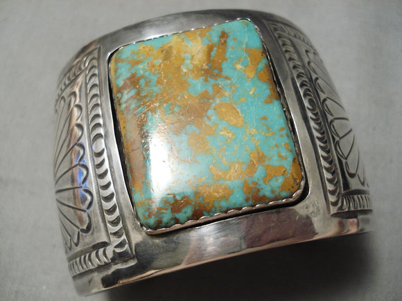 Best Vintage Native American Navajo Squared Royston Turquoise Sterling Silver Bracelet Old