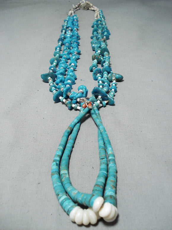 Fascinating Vintage Native American Navajo Kingman Royston Turquoise Shell Jacla Necklace