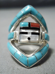 Important Don Dewa Vintage Native American Zuni Turquoise Sterling Silver Ring