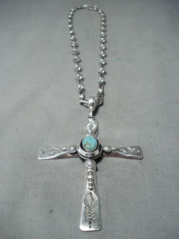 Outstanding Native American Navajo Royston Turquoise Sterling Silver Cross Necklace