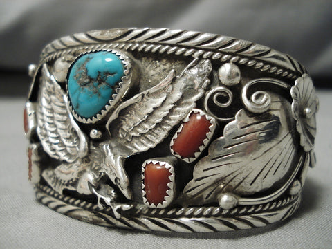Stunning Fred James Vintage Native American Navajo Soaring Eagle Sterling Silver Bracelet Old