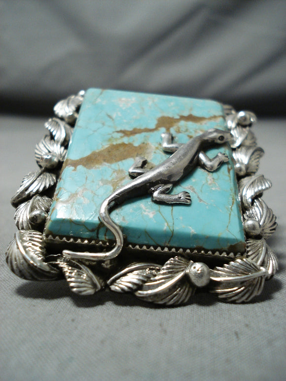 Fantastic Lizard #8 Turquoise Mine Sterling Silver Ring Native American