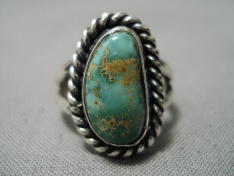 Striking Vintage Navajo Royston Turquoise Sterling Silver Native American Ring