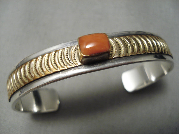 Striking Vintage Native American Navajo Squared Coral Sterling Silver Gold Bracelet