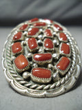 One Of The Biggest Native American Navajo Coral Chunk Sterling Silver Ring