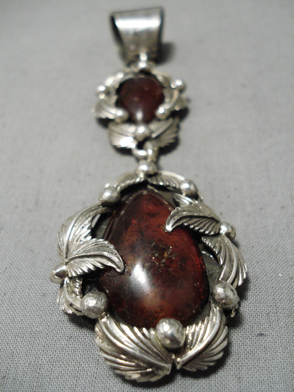 Astonishing Navajo Amber Sterling Silver Pendant Native American