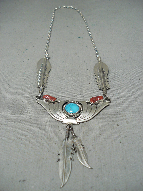 Fascinating Tso Vintage Native American Navajo Turquoise Coral Sterling Silver Feathers Necklace