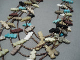 Magnificent Vintage Navajo Turquoise Fetish Native American Necklace Old