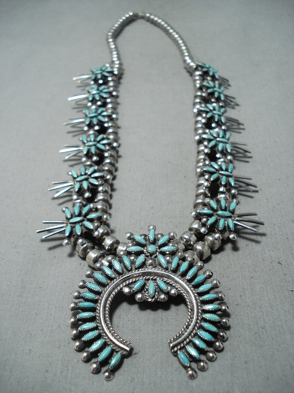 Authentic Women's Vintage Native American Zuni Turquoise Sterling Silver Squash Blossom Necklace