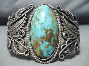 One Of Most Detailed Vintage Native American Navajo Royston Turquoise Sterling Silver Bracelet