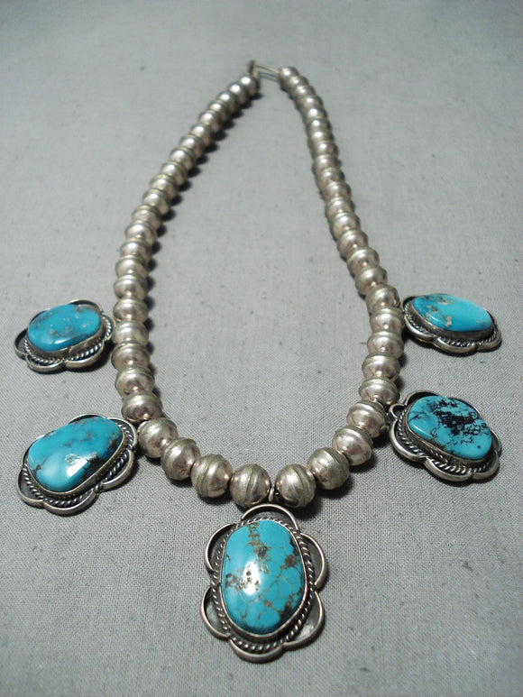 Outstanding Vintage Native American Navajo Morenci Turquoise Sterling Silver Necklace Old