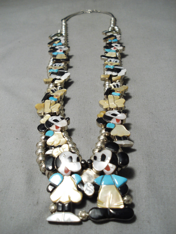 Rare 1980's Vintage Native American Zuni Turquoise Sterling Silver Squash Blossom Necklace Old