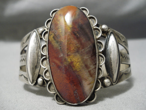 Early 1900's Vintage Native American Navajo Petrified Wood Sterling Silver Bracelet Old
