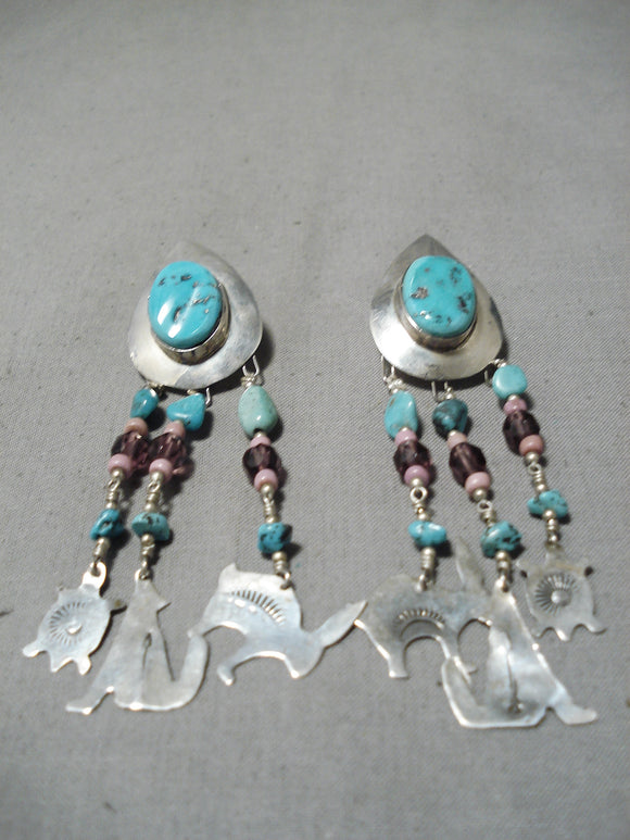 Eye-catching Navajo Turquoise Sterling Silver Dangle Earrings Native American