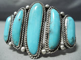 Tremendous Vintage Native American Navajo Turquoise Sterling Silver Bracelet