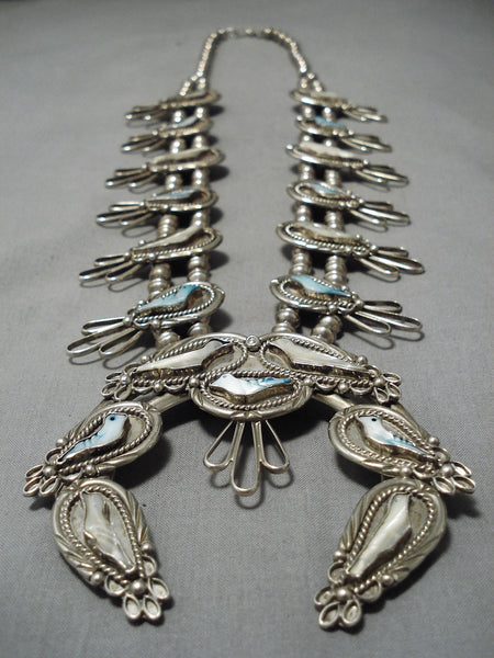 Huge Vintage Native American Navajo Bird Fetish Sterling Silver Native Squash Blossom Necklace