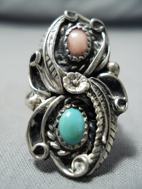 Detailed Vintage Native American Navajo Turquoise Leaf Sterling Silver Ring Old