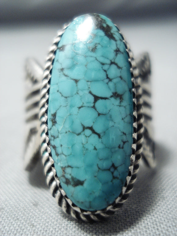 Native American Len Martza Vintage Zuni Spiderweb Turquoise Sterling Silver Ring Old