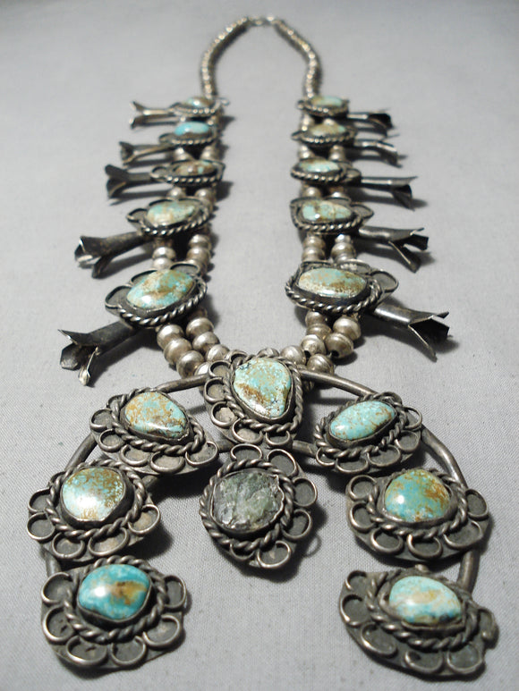 Royston Turquoise Vintage Native American Navajo Sterling Silver Squash Blossom Necklace