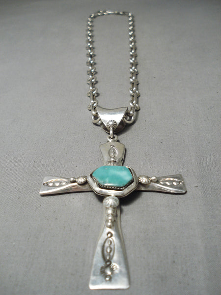 Heavy Thick Sturdy Native American Navajo Turquoise Sterling Silver Cross Necklace
