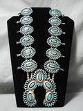 Authentic Vintage Native American Navajo Turquoise Sterling Silver Squash Blossom Necklace Old