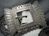 Women's Vintage Native American Navajo Sterling Silver White Belt Concho Belt