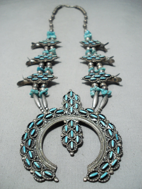 So Unique Vintage Zuni Native American Navajo Turquoise Sterling Silver Squash Blossom Necklace