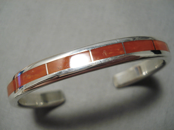 Exquisite Vintage Zuni Native American Coral Thick Sterling Silver Bracelet