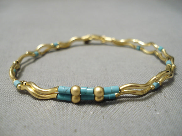 Marvelous Solid 14k Gold Vintage Native American Bracelet