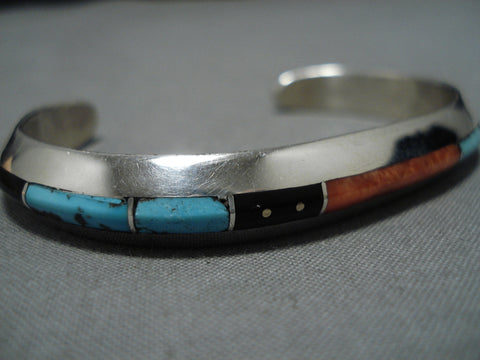 Striking Vintage Native American Navajo Turquoise Inlay Spine Sterling Silver Bracelet