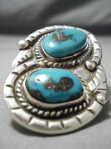 Colossal Vintage Native American Navajo Bisbee Turquoise Sterling Silver Ring Old