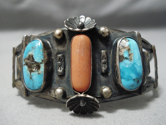 Rare Smokey Bisbee Turquoise Vintage Native American Navajo Coral Sterling Silver Bracelet
