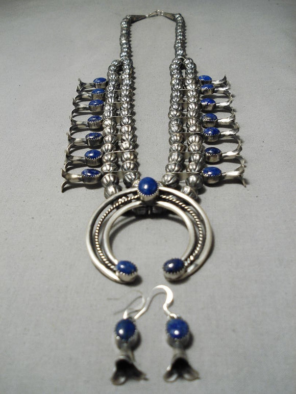 Native American Striking Vintage Zuni Lapis Sterling Silver Squash Blossom Necklace