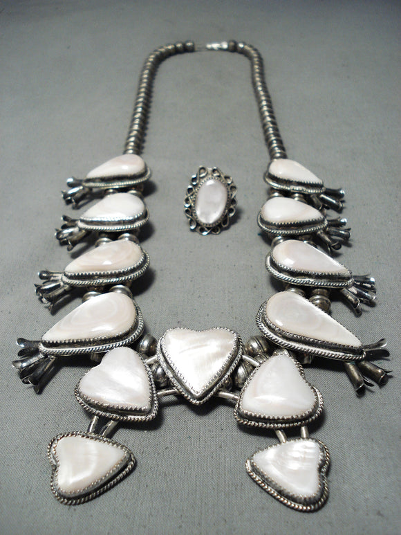 Women's Heart Vintage Native American Navajo Shell Sterling Silver Squash Blossom Necklace Old