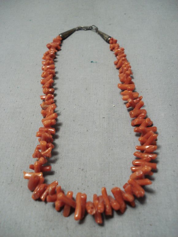 Wonderful Vintage Navajo Coral Sterling Silver Necklace Old Native American