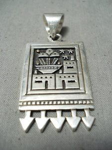 Native American Important Vintage Santo Domingo Sterling Silver & Gold Pendant Old