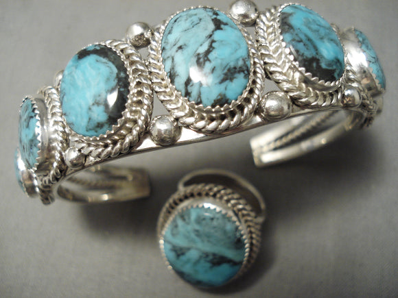 Incredible Vintage Native American Navajo Blie Diamond Turquoise Sterling Silver Bracelet Ring