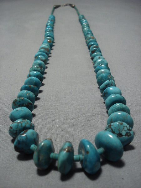 Astounding Vintage Native American Navajo Royston Turquoise Sterling Silver Necklace Old