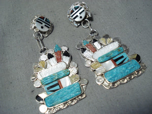 Outstanding Zuni Turquoise Sterling Silver Earrings Native American