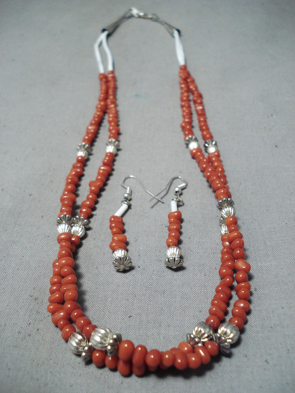 Amazing Vintage Native American Navajo Coral Heishi Sterling Silver Necklace