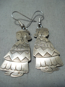 Important Vintage Navajo Native American Sterling Silver Maiden Earrings Old