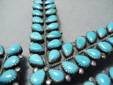 Fabulous Vintage Native American Navajo Sleeping Beauty Turquoise Sterling Silver Collar Pins