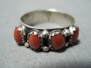 Marvelous Bahe Navajo Coral Sterling Silver Ring Native American