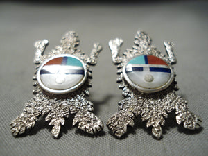 Best Vintage Native American Navajo Turquoise Lapis Sterling Silver Toad Earrings