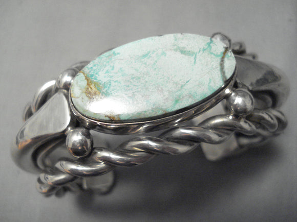 So Heavy!! Vintage Native American Navajo Green Turquoise Sterling Silver Bracelet- 142 Grams