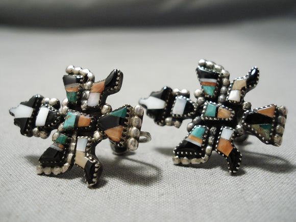 One Of The Best Vintage Native American Zuni Turquoise Sterling Silver Earrings Kachina Old