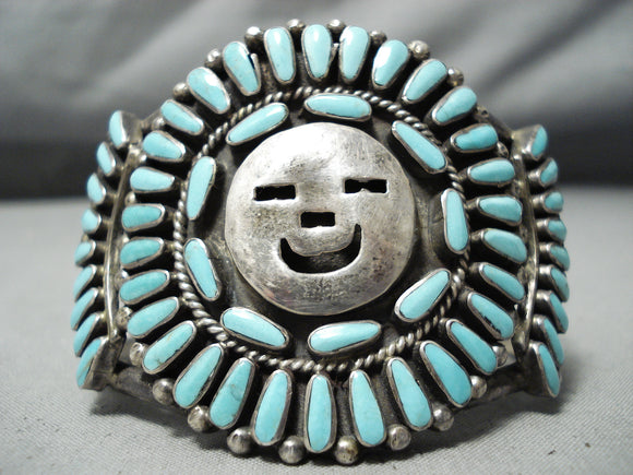 Heavy Huge Vintage Native American Navajo Happy Face Turquoise Sterling Silver Bracelet