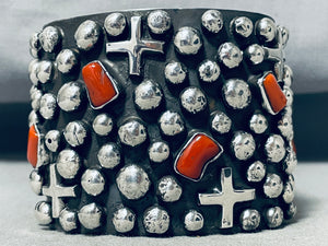 One Of The Best Ever Native American Navajo Coral Cross Sterling Silver Bracelet
