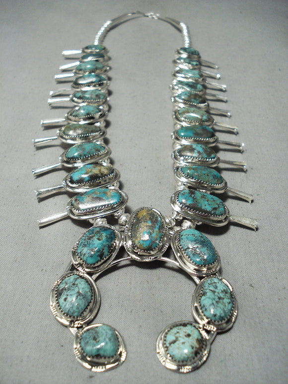 Women's Native American Navajo Basalt Turquoise Sterling Silver Squash Blossom Necklace